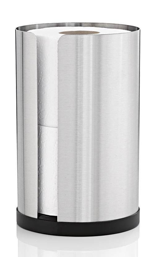 Nexio porte secours rouleau (68410) de BLOMUS. Acier inoxydable brossé (mat). diamètre 13.5cm. Hauteur 22cm. Titulaire de rechange est également adapté pour