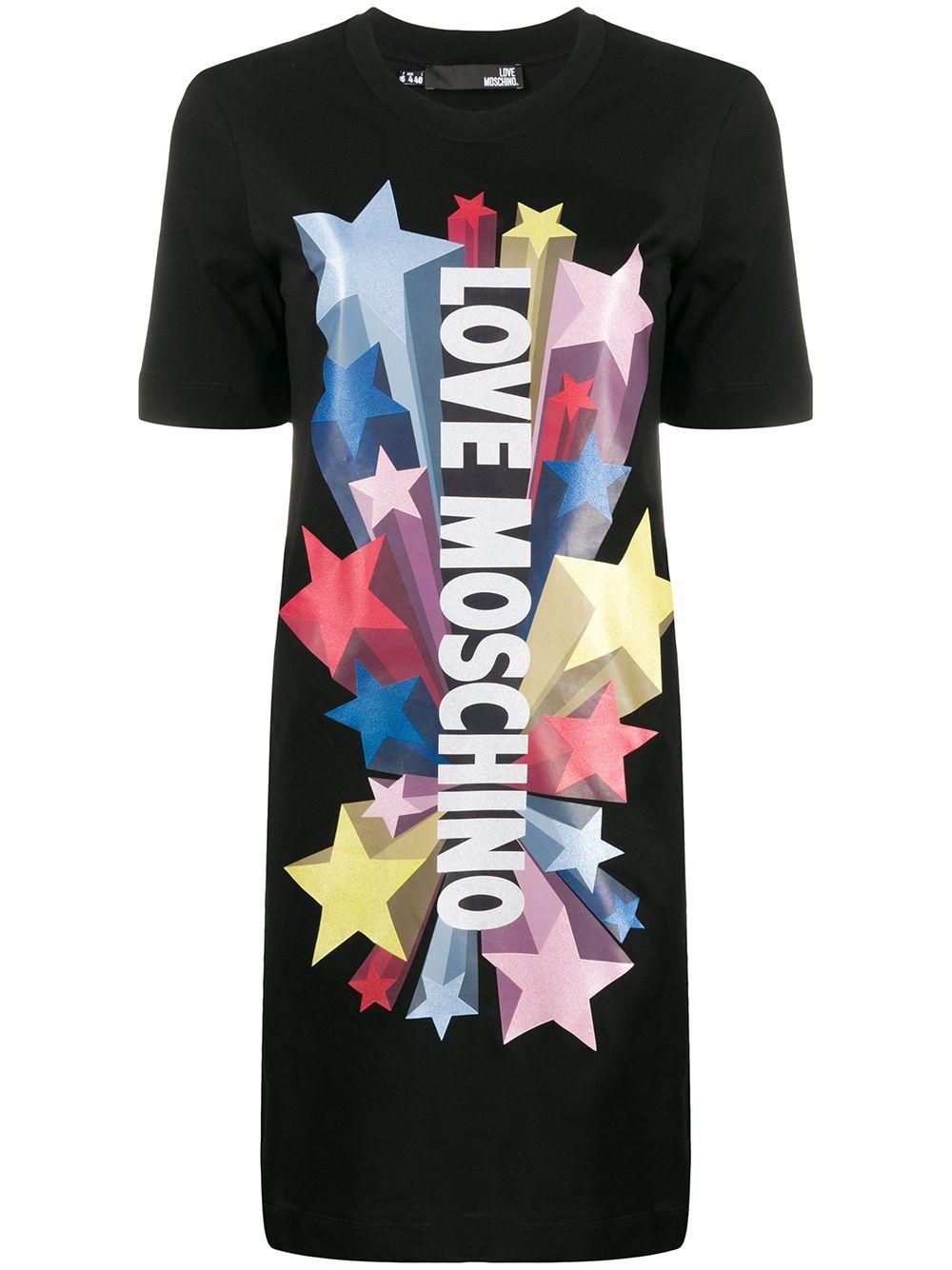 Shooting Stars T Shirt Dress In C74 Black In 2020 T Shirt Dress Black Shirt Dress Moschino