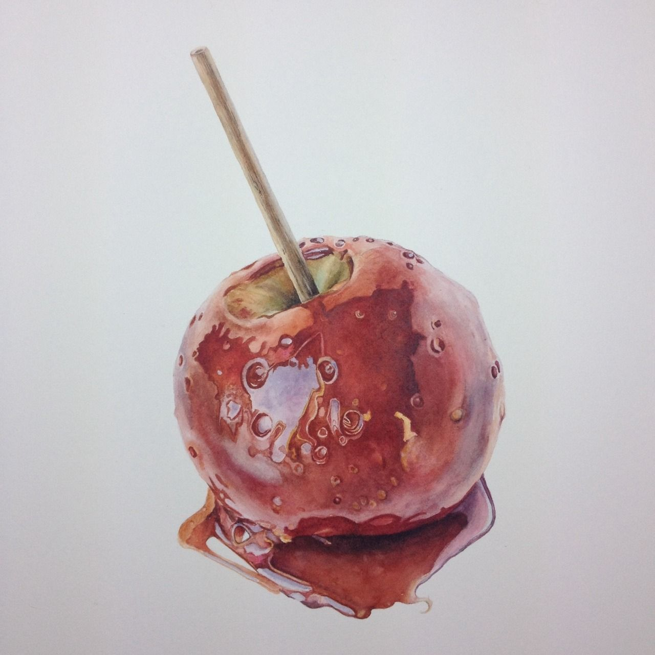Toffee Apple Commission Finished On To Pastures New Apple Painting Chocolate Apples Apple Sketch