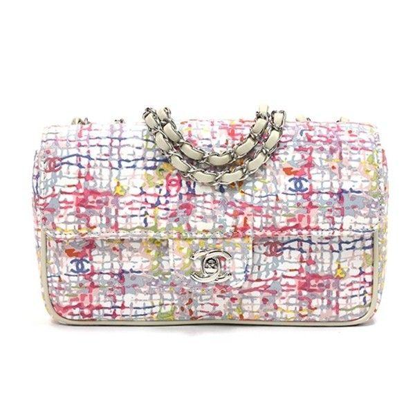Chanel Multicolor Canvas Watercolor Clover Flap Handbag  1d40f44614