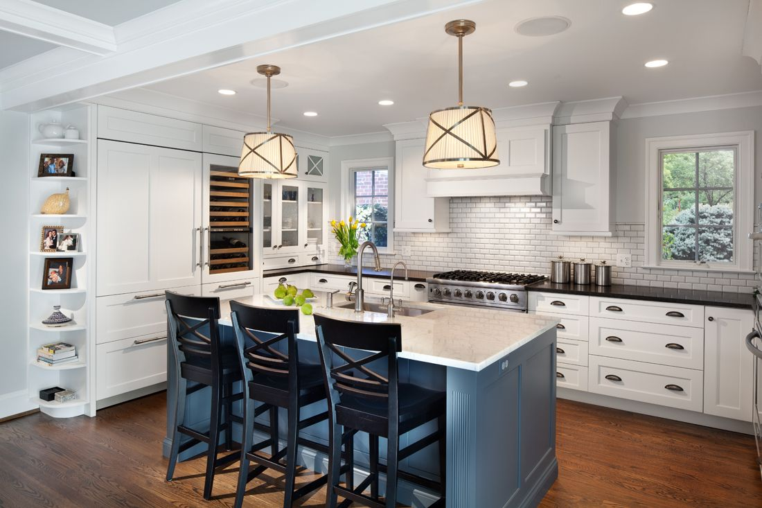 We Are In Love With This Clic White Kitchen The Slate Blue Island Is A Stand Out Feature Traditional