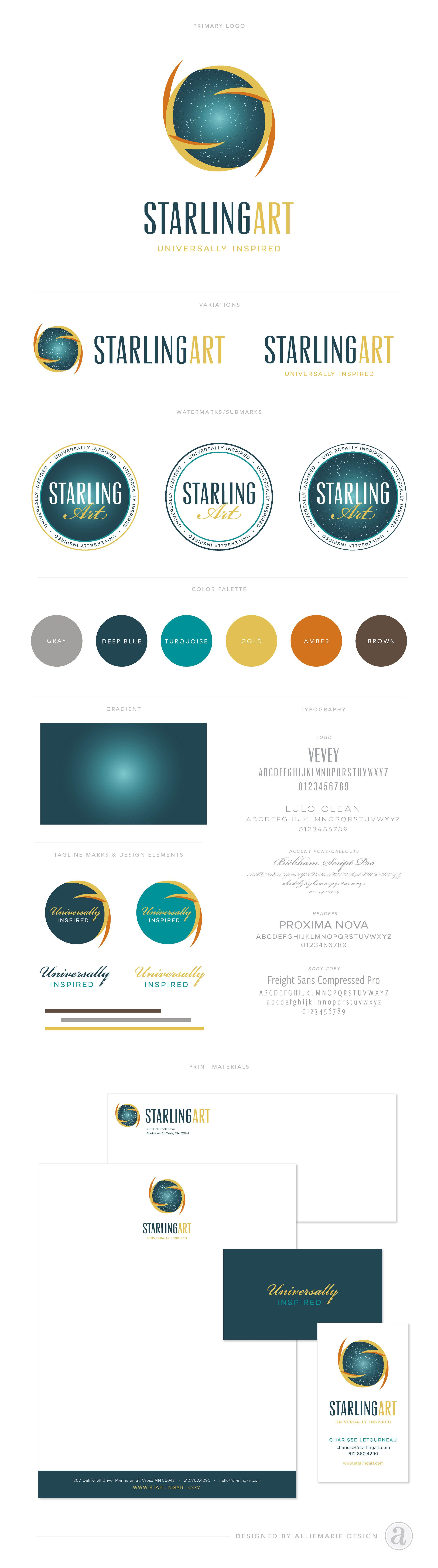 Brand reveal starling art business cards fonts and logos brand launch starling art by alliemarie design logo variations submarks reheart Gallery