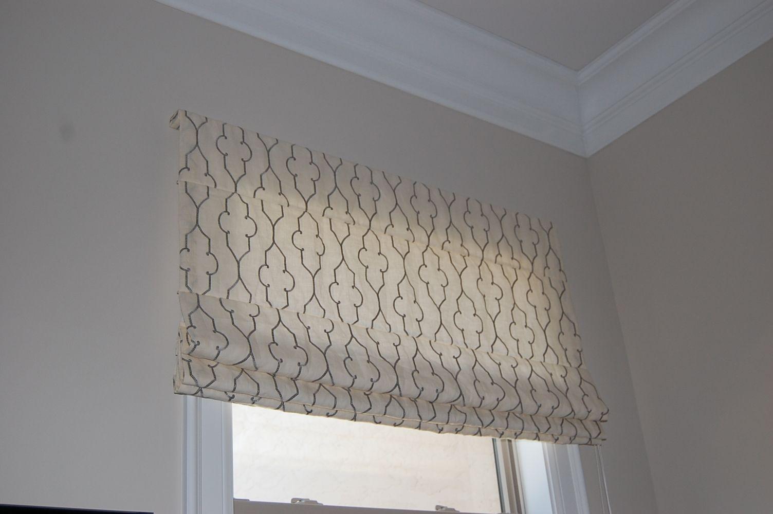 Basement window coverings outside  board mounted flat roman shade  arh custom window fashions