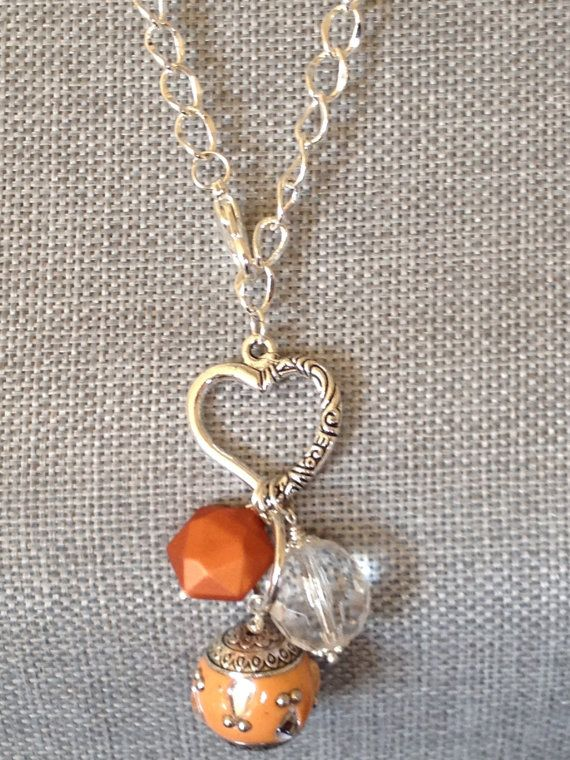 Fall Charm Necklace Orange Heart Bauble by Eight9Designs on Etsy