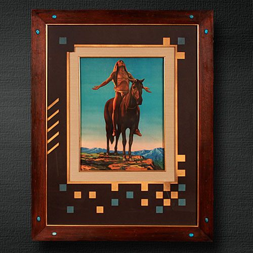 """Appeal to the Great Spirit- Multicolored mat design ties in colors from print. Framed in an antique wood frame with in crested turquoise stones. The art was backed with acid-free foam board and was glazed with regular glass. Overall size is 24 1/2"""" x 31 1/2"""". $249.99"""