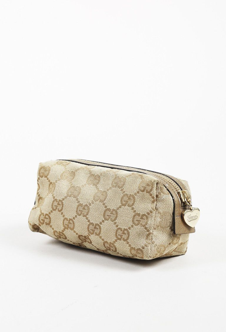 befd1fbc556a Details about Auth GUCCI Vintage GG Canvas, Brown Leather Pouch Mini ...