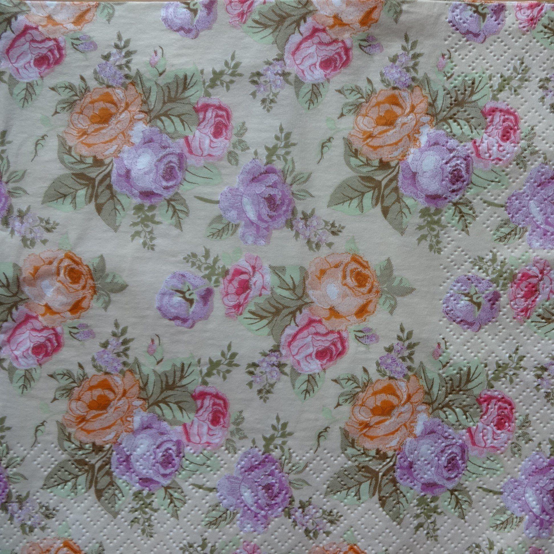 4 Watercolor  Purple Flower Paper Napkins Crafts Supplies Decoupage Paper B.New