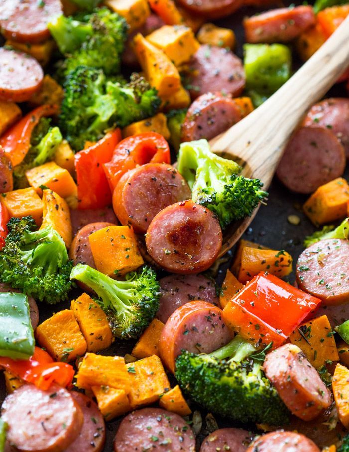 Photo of Healthy 20 Minute Sheet Pan Sausage and Veggies