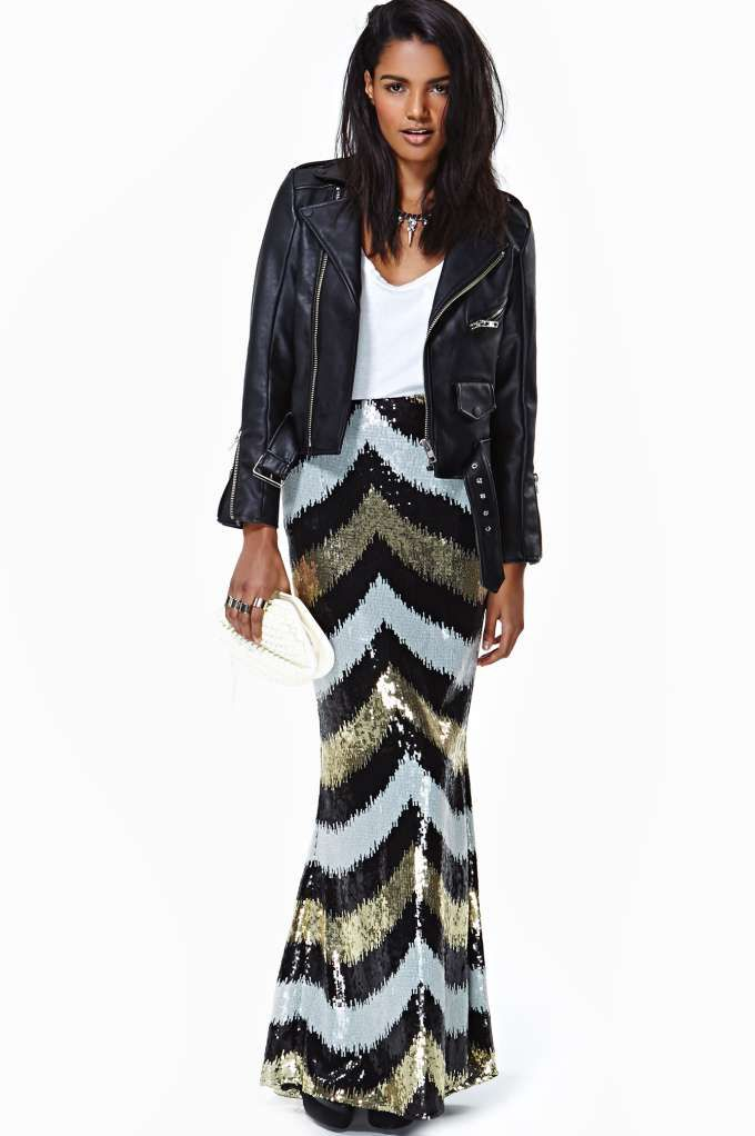 f050febe8 Maxi sequin skirt with white, black, and gold reverse Chevron pattern. Worn  with white V-neck Tee and cropped black leather jack.