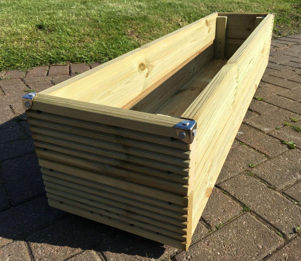 Jumbo Extra Large Long Wooden Planter Trough Decking 400 x 300