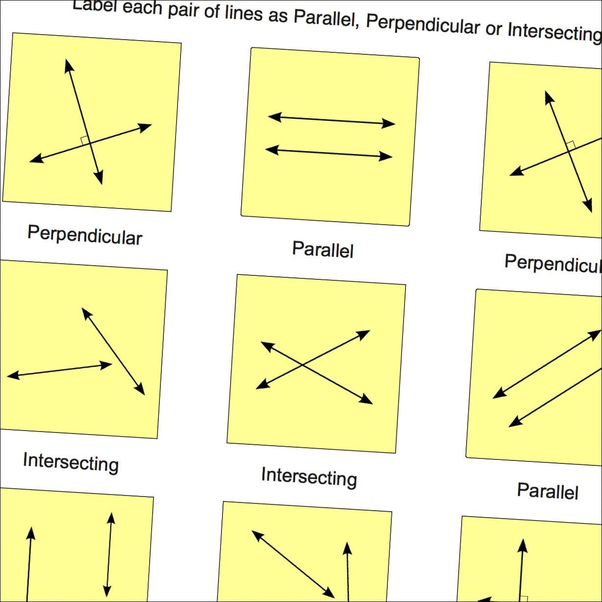 Geometry Worksheets Parallel Perpendicular Intersecting Lines
