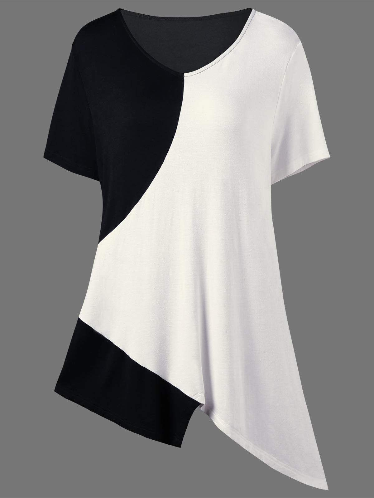 bfeb16faf93183 Asymmetrical Color Block Plus Size Long T-Shirt in 2019 | Products ...