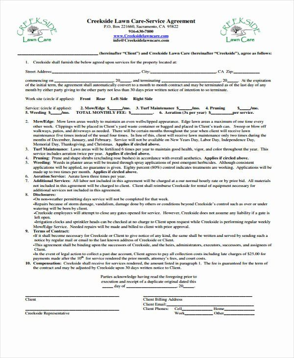 Landscape Maintenance Contract Template Best Of 10 Lawn Service Contract Templates Free Sample Example In 2020 Lawn Care Contract Template Lawn Care Business