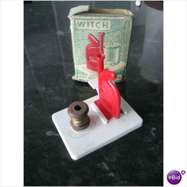 Vintage Witch needle threader with stand and tiny wooden thread reel on eBid Malaysia