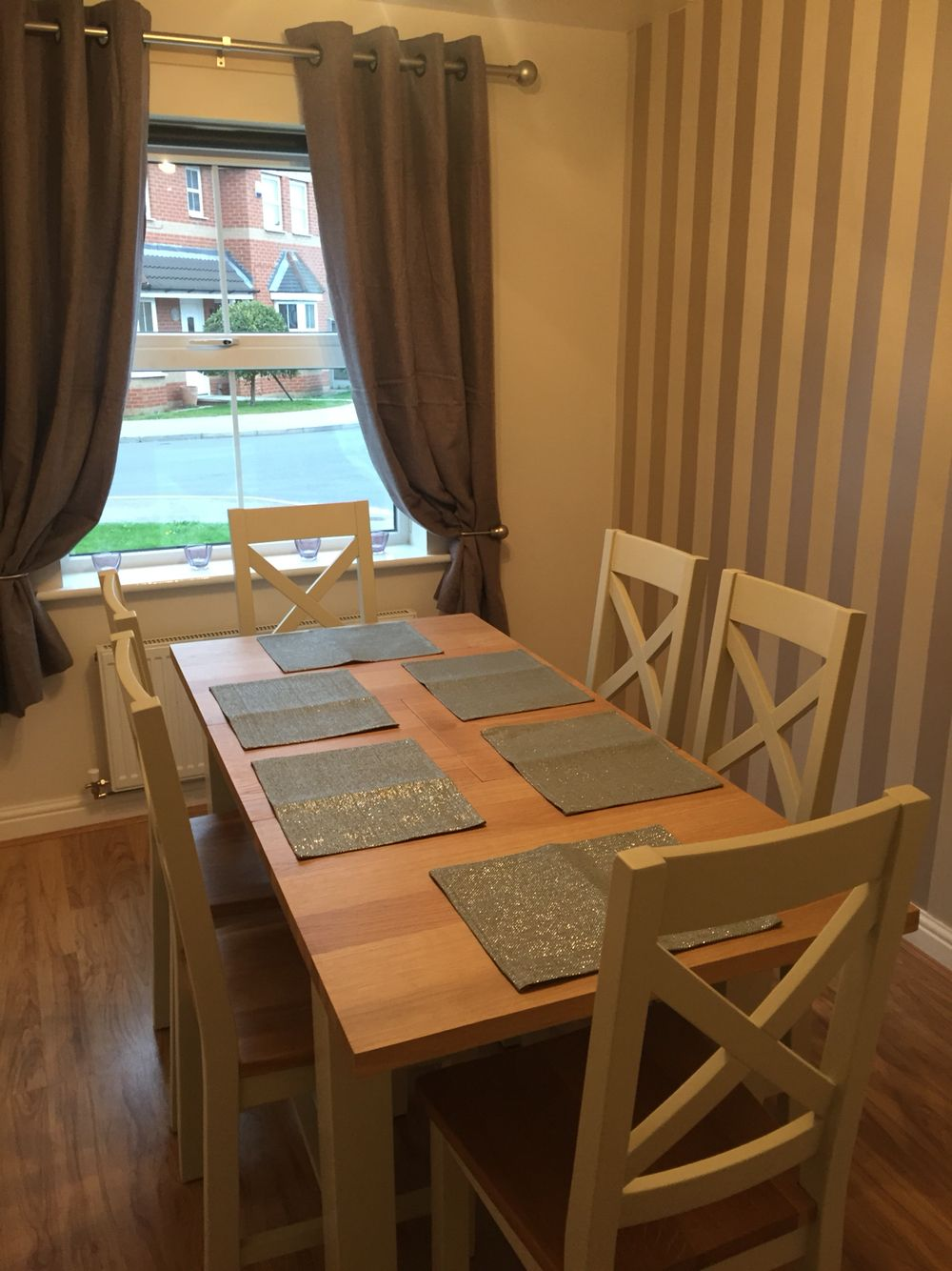 Dining room - curtains: next, table and chairs: furniture barn wallpaper: Laura Ashley