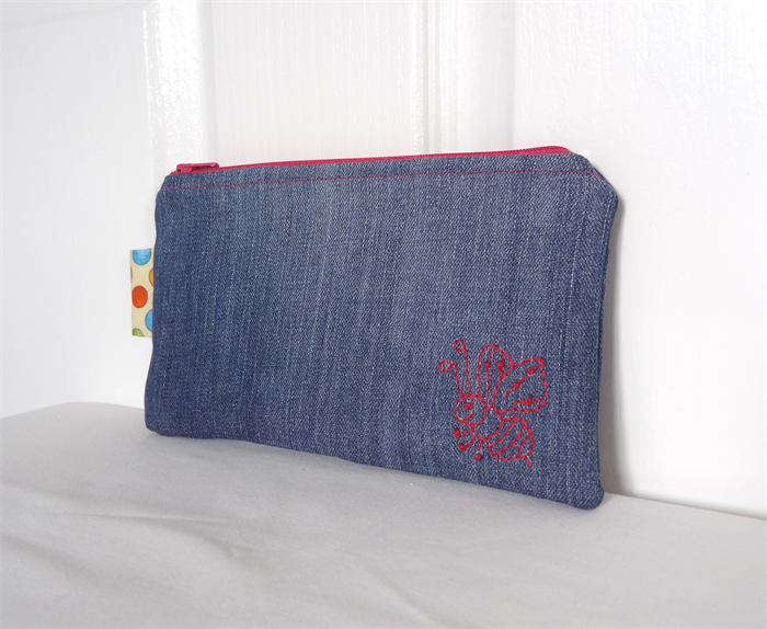 Hand Stitched Bumble Bee Motif Upcycled Denim Pouch | One Busy Sloth | madeit.com.au