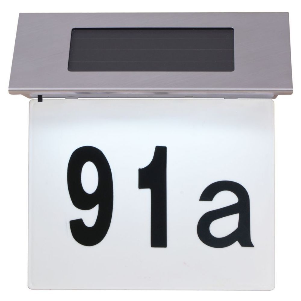 Good Details About Solar House Number Plaque Wall LED Light Stainless Steel Door  Number Solar Power