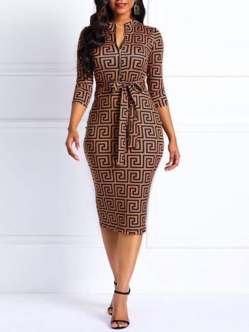 d3efa47382a3 Quarter Sleeve Print V-Neck Women's Bodycon Dress in 2019   Crochet ...