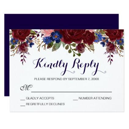 Navy and marsala floral wedding rsvp card wedding invitations navy and marsala floral wedding rsvp card wedding invitations cards custom invitation card design marriage stopboris Gallery