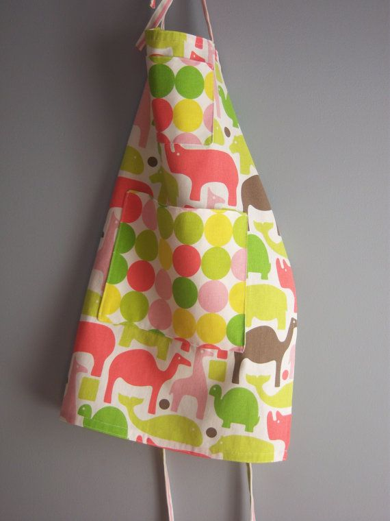 Top-Stitched Apron in Bright Zoo Animals by LizzieGracesCloset12
