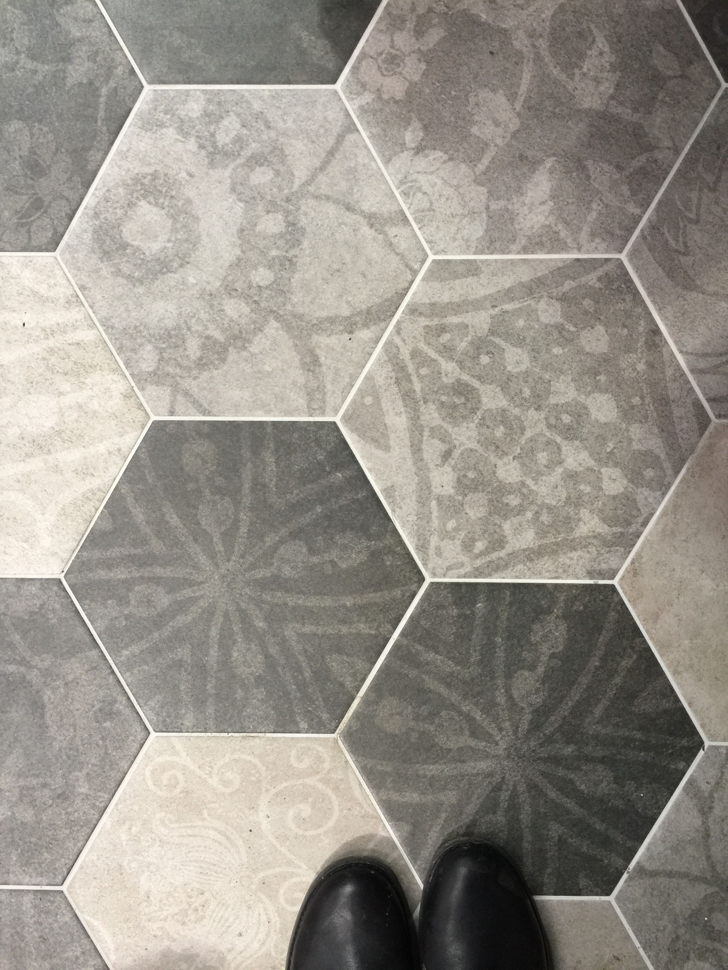 Grey hexagon patterned floor tiles | Tiles in 2018 | Pinterest ...