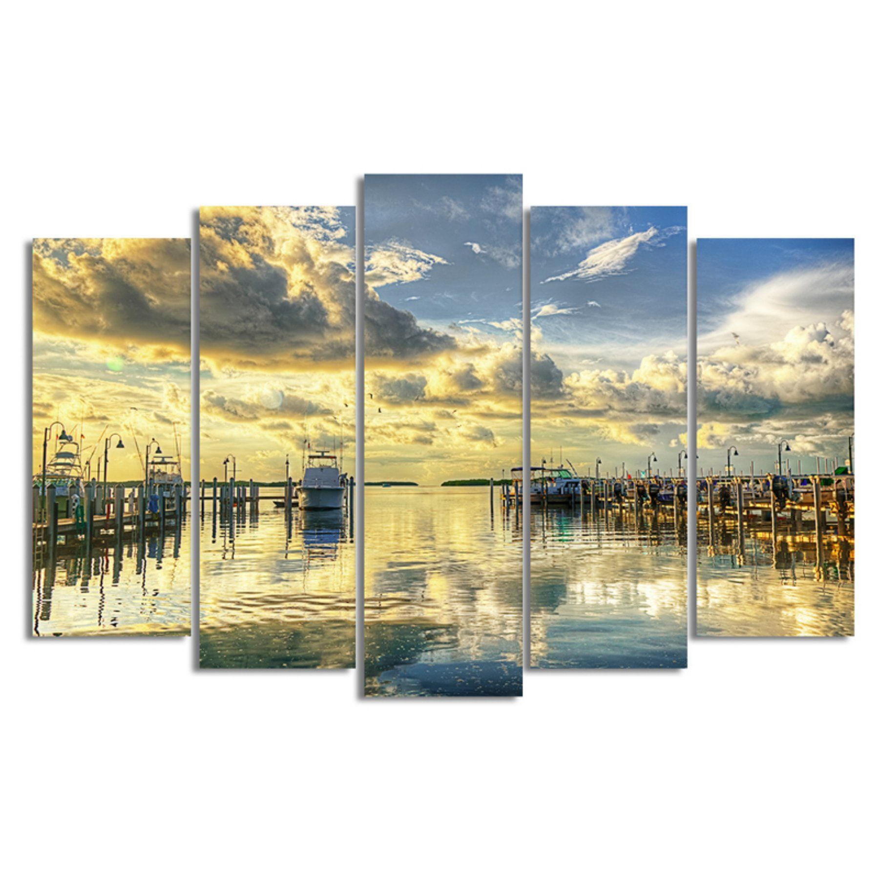 Ready2HangArt Boat Dock Canvas Wall Art - 5 pc. Set - BB153-GWC5PC ...