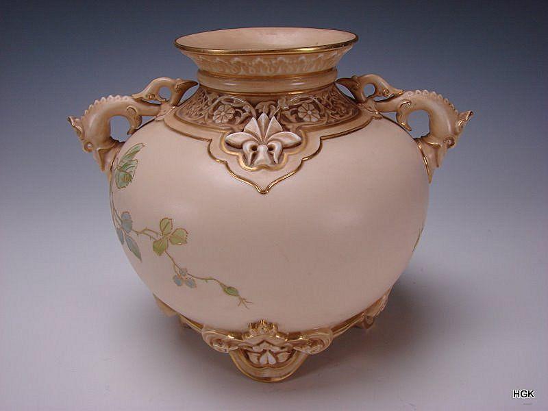 Antique Royal Worcester China Elegant Roses Ornate Vase Vases