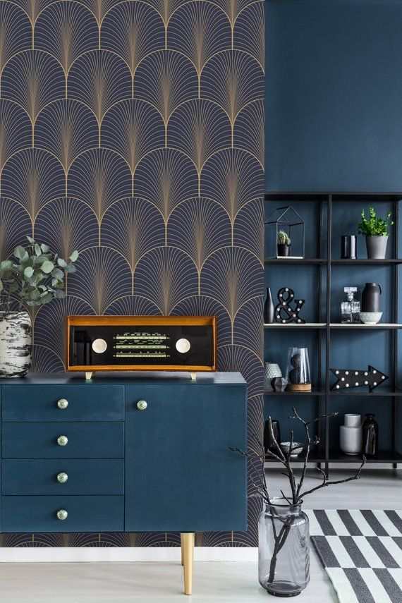 Vintage art deco wallpaper self adhesive wallpaper blue and brown geometric pattern peel and stick wall mural temporary wallpaper  Vintage art deco wallpaper self adhesiv...