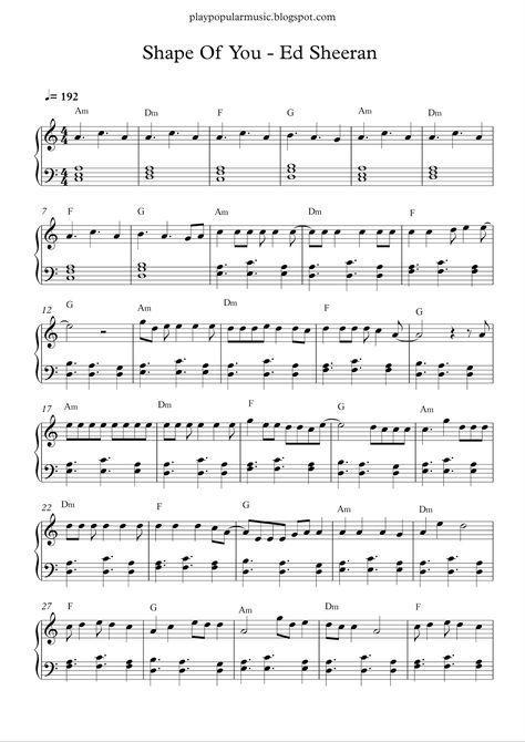 Free Piano Sheet Music Shape Of You Ed Sheeranpdf Your Love Was