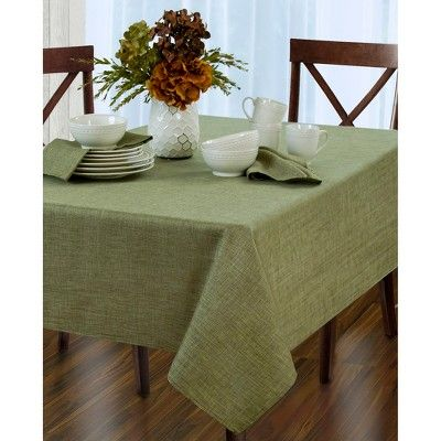 Pennington Stain Resistant Tablecloth 52 X 70 Oblong Green