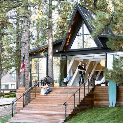 A Frame Cabin Gets An A Makeover A Frame Cabin Cabins In The Woods Architecture