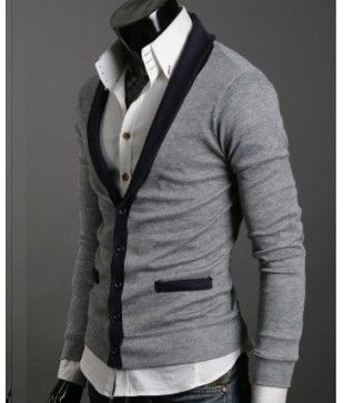 Contrast Mens Cardigan Slim fit contrast sweater with contrast ...