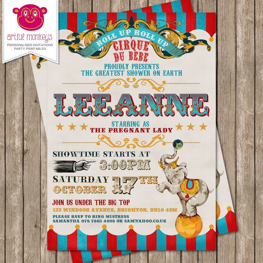 Printable Retro Circus Themed Baby Shower Invitation | Personalized ...