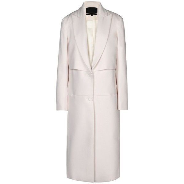 Behno Coat (€475) ❤ liked on Polyvore featuring outerwear, coats, ivory,  pink coat, lapel coat, single breasted coat, ivory coat and white winter  coat 2e20ccc561