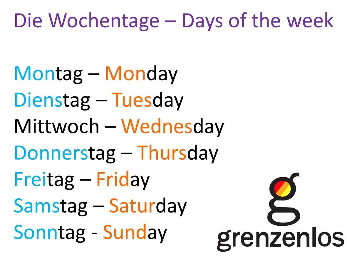 German Days Of The Week Google Search German Pinterest
