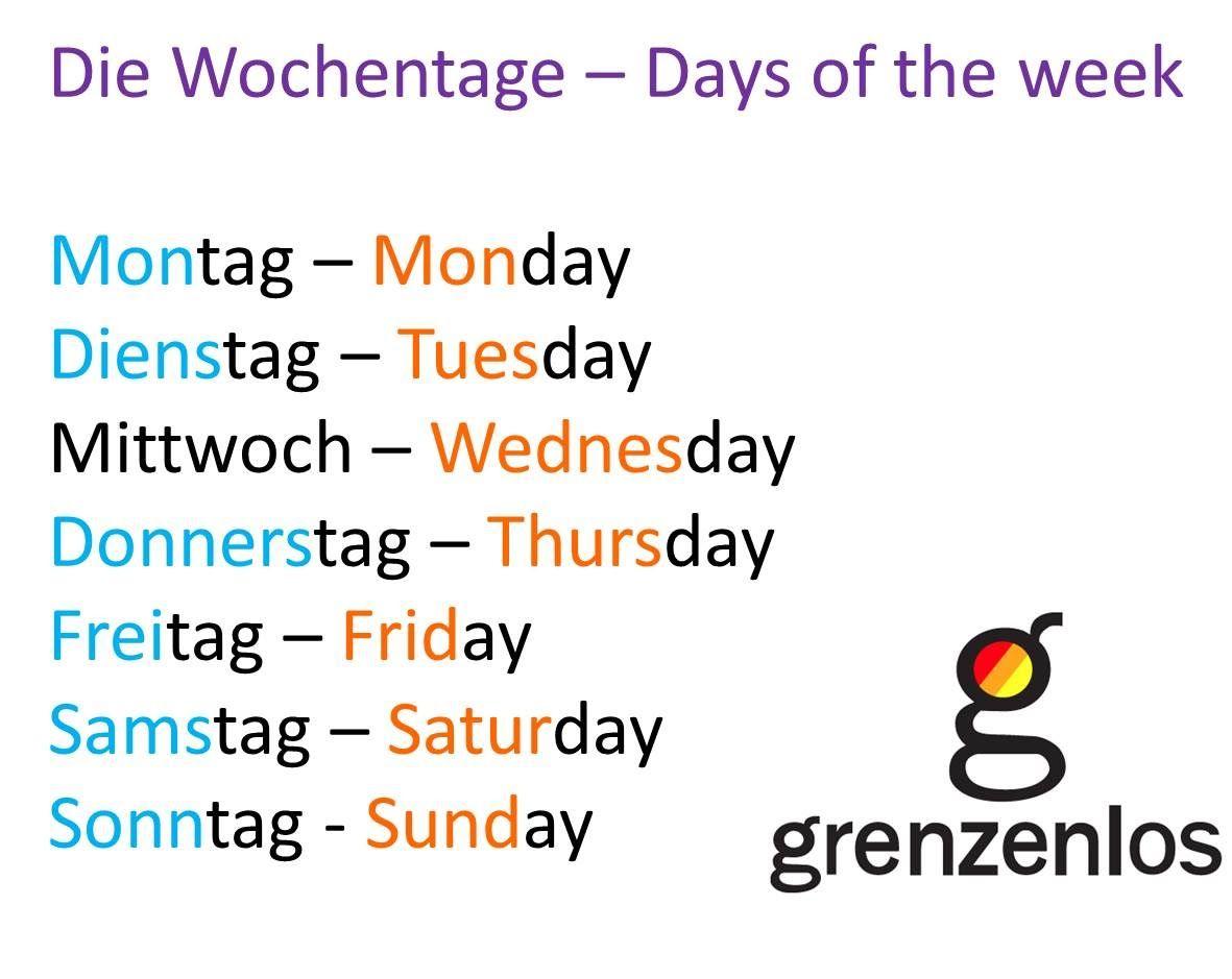German Days Of The Week