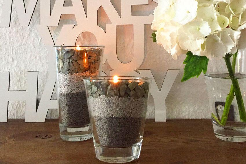Gemütliche Deko Für Die Wohnung: Einfach Deko Steine In Ein Wasserglas  Füllen Und Teelicht