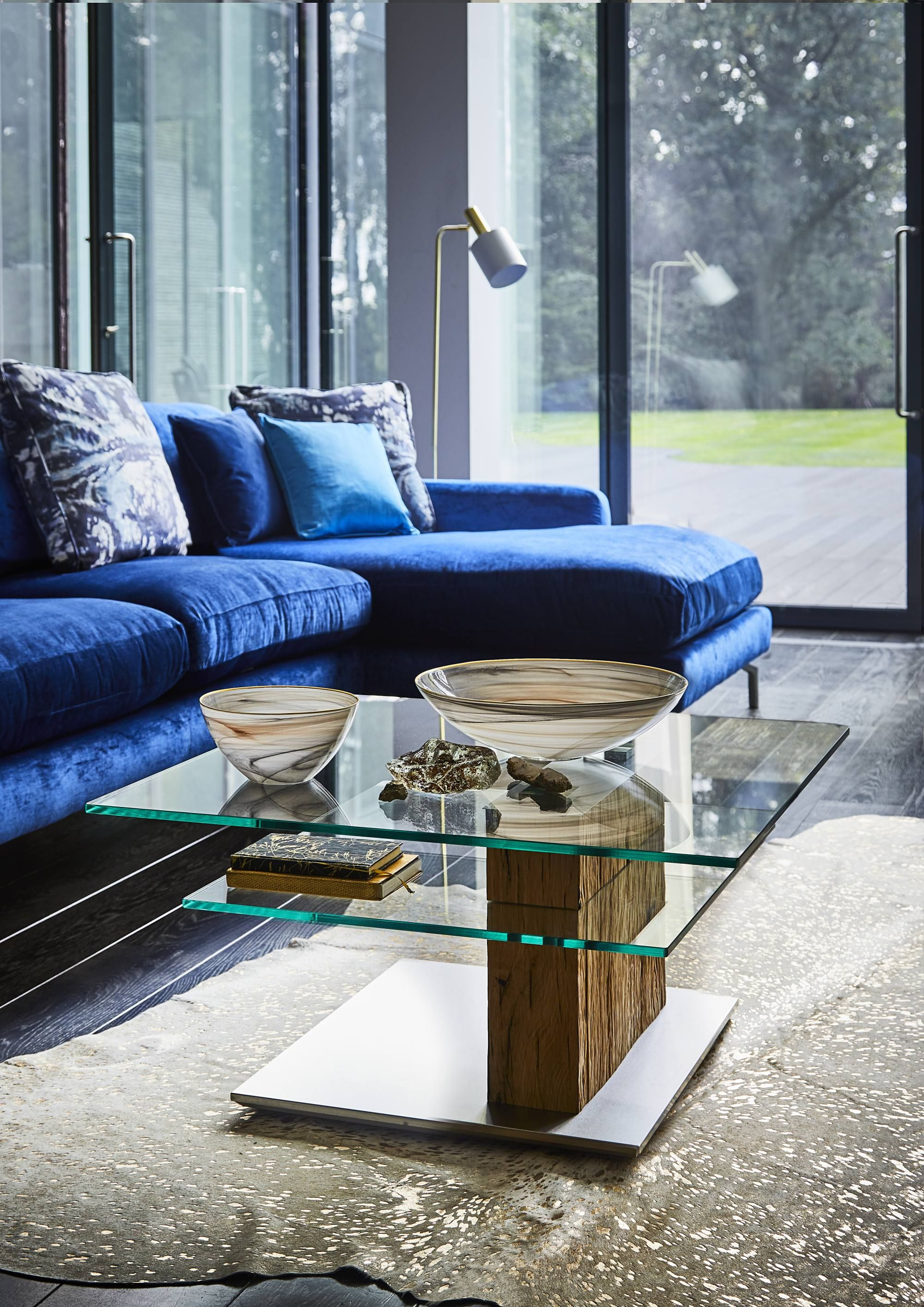 The Bohle Glass And Oak Coffee Table Will Add A Cool Contemporary Look To Your Living Room Coffee Table Coffee Table Wood Coffee Table Square [ 2828 x 2000 Pixel ]