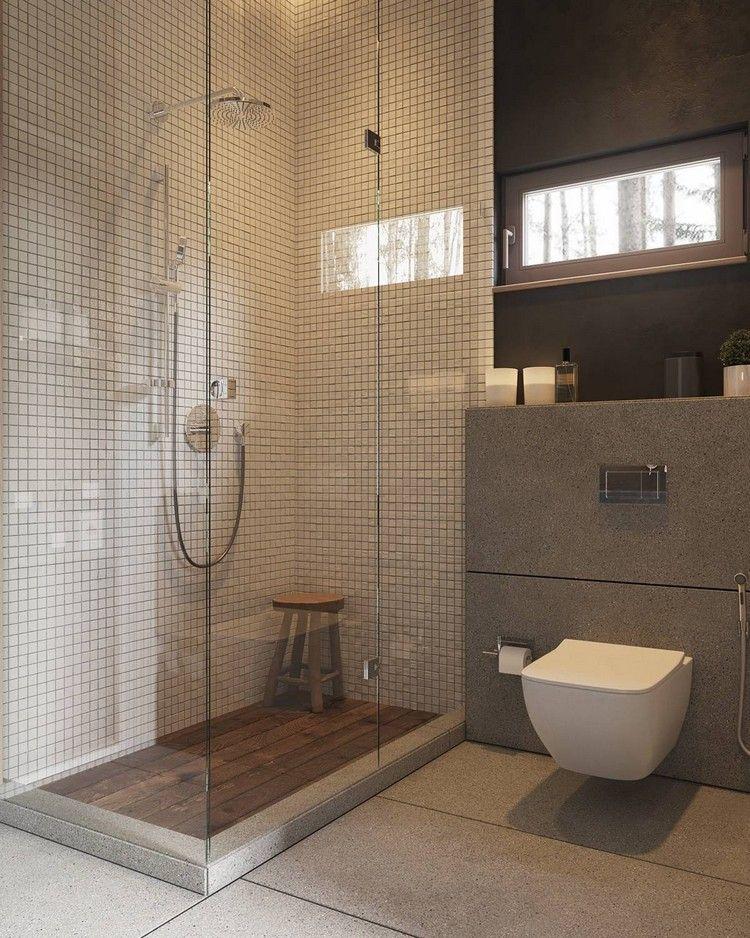 cabine de douche l 39 italienne avec carrelage mural r tro et sol en bois massif haus. Black Bedroom Furniture Sets. Home Design Ideas