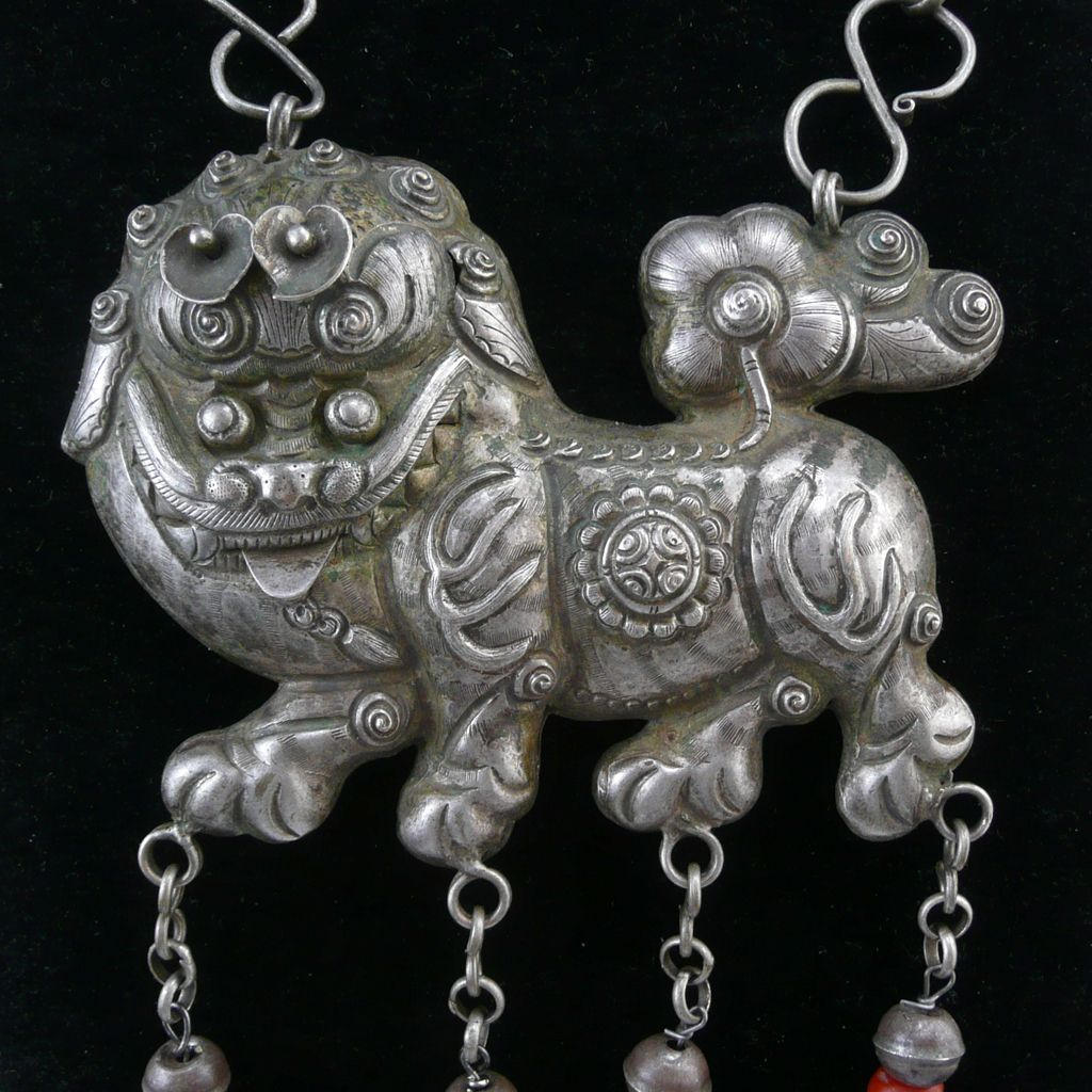 Chinese Miao Silver Auspicious Dragon Kylin QiLIn Amulet Pendant Longevity lock