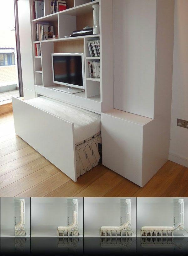 meuble télé avec lit intégré | Comment aménager une petite chambre, Amenagement petite chambre ...
