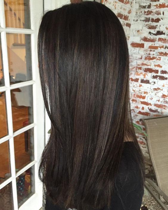10 black hair with chestnut highlights - Styleoholic