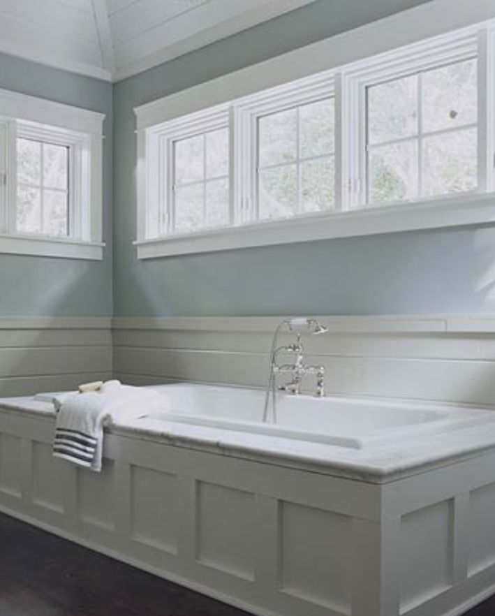 White Shaker Tub Surround With Vertical Wainscoting