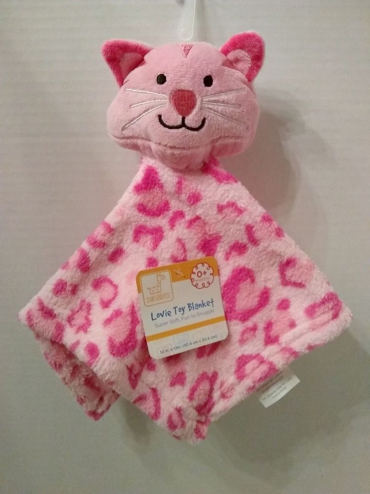 NWT Baby Gear Pink Kitty Cat Plush Fleece Security Blanket Soft Girl Lovey Toy