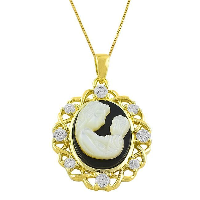 Fremada 14k Gold Over Silver Mom and Baby Cameo Necklace, Women's, Black (dotted)