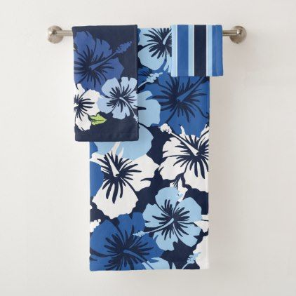 Epic Hibiscus Hawaiian Floral Coordinates Navy Bath Towel Set