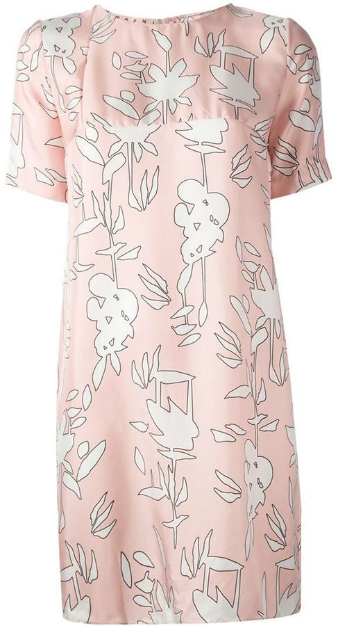 $348, Pink Floral Sheath Dress: Floral Print Shift Dress by Marni. Sold by farfetch.com. Click for more info: http://lookastic.com/women/shop_items/78029/redirect