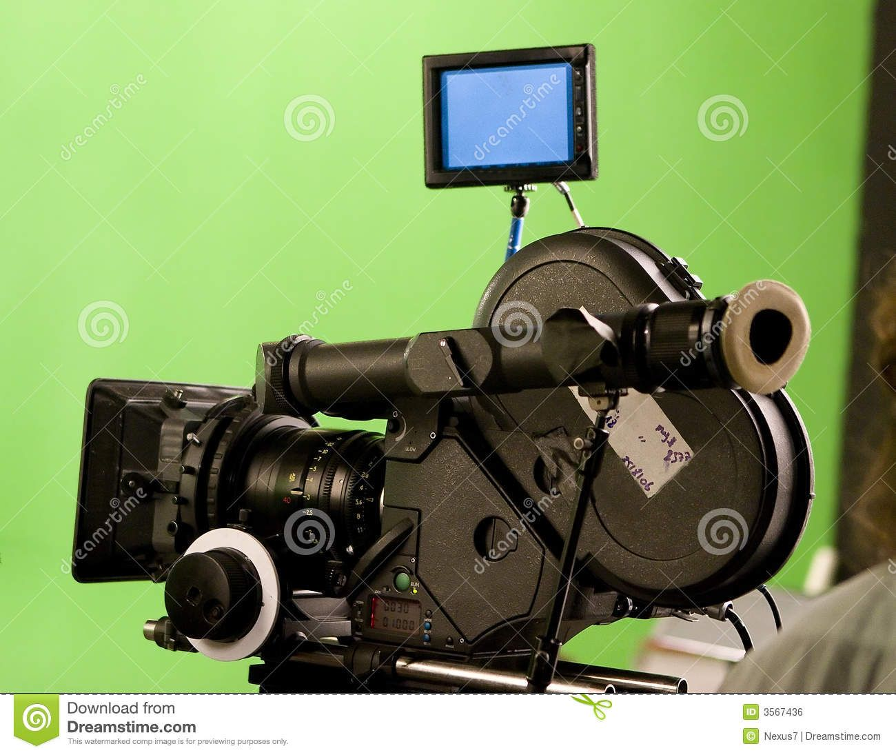 A Modern Film Camera With Green Screen In An Indoor Studio Large Image From