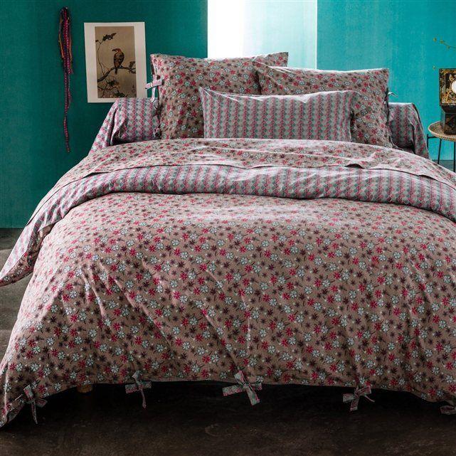 Chambre Lit Drap Housse Couette Motifs Petits Fleuris Rose Gris Interieur