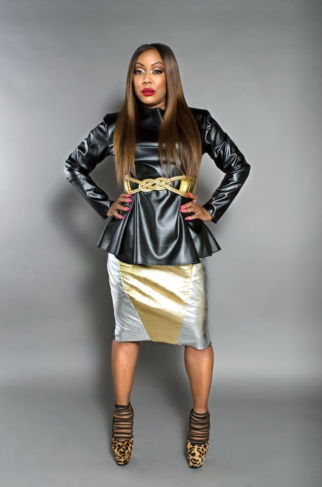 DS Collection Black Leather Peplum Top/Leather Metallic Skirt